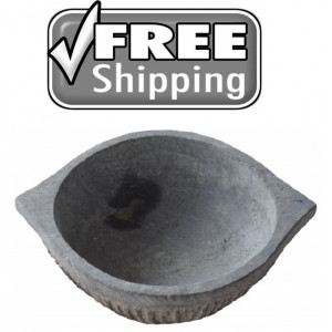 Kalchatti - Traditional stone cooking vessel - Flat Bowl shaped