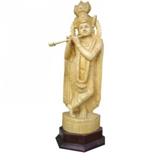 Wooden Krishna Idol