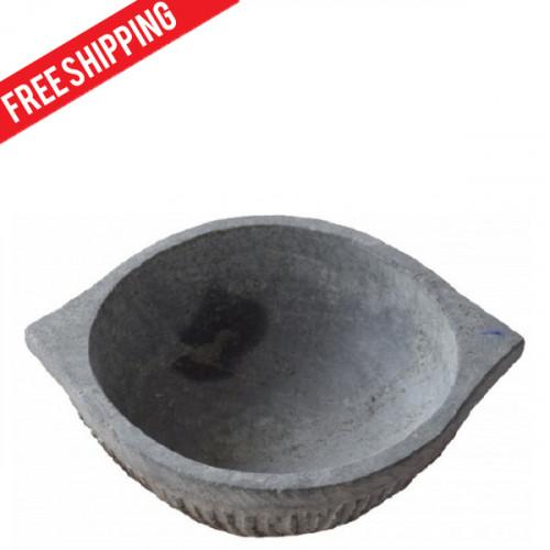 Kalchatti - Stone Cooking vessel - Flat Bowl shaped